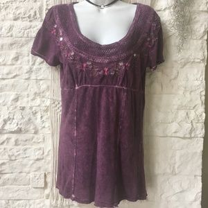 Free People Distressed Embellished Boho Top